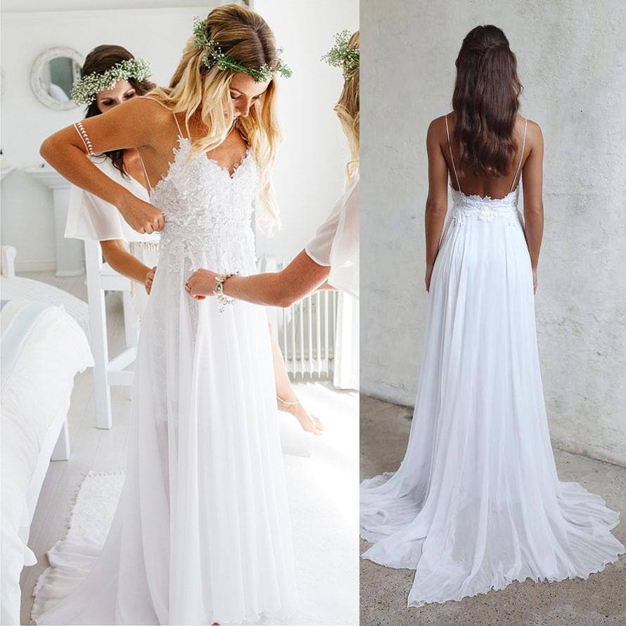 Spaghetti Strap V-neck Beach Wedding Dress,White Chiffon Lace ...