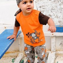 FREE SHIPPING Boys 3 pcs set orange and monkey, top, pants and pirates scarft hat beret