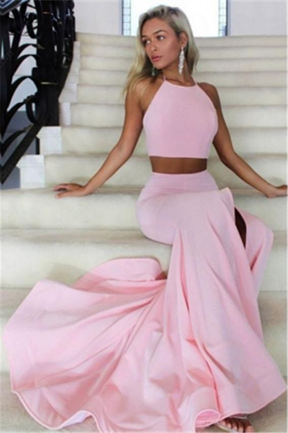 U0138,2018 Two Piece Prom Dresses Mermaid Backless Long Evening ...
