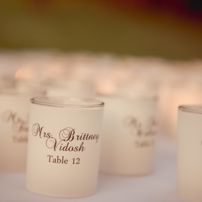 Escort/seating card alternative - votive cuffs