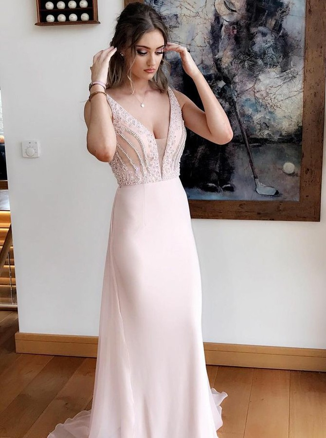Gorgeous A-Line Prom Dresses V-Neck Sweep Train Evening Dress Pearl ...