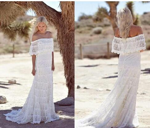 Hot Sale Summer 2018 Full Lace Bohemian Wedding Dresses Off Shoulder ...