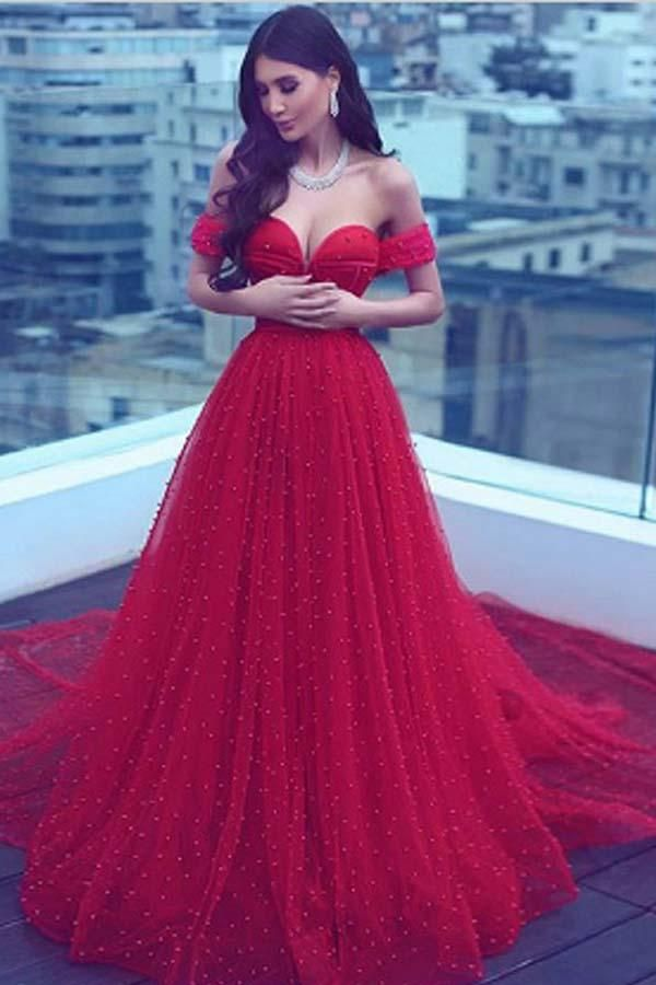 Elegant Prom Dresses,A-Line Off-the-Shoulder Court Train Dark Red ...