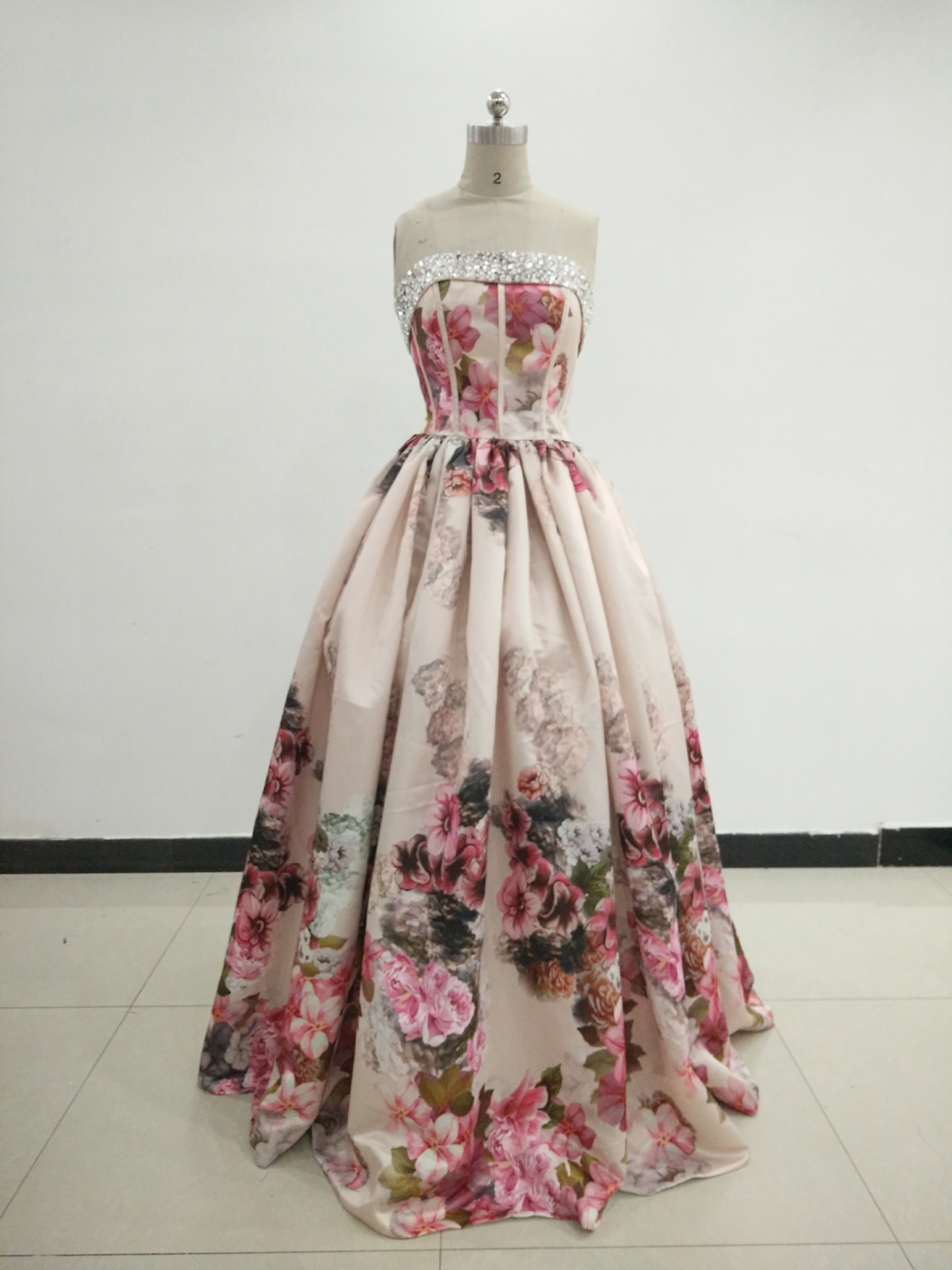 Charming Print Dress Beaded Sweetheart Neckline Floral Strapless ...