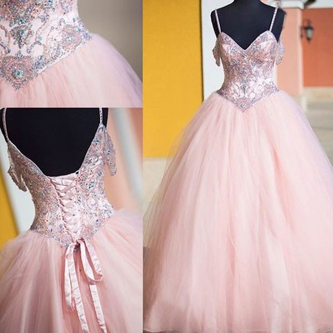 gergeous tulle ball gown prom dress sexy crystal beaded