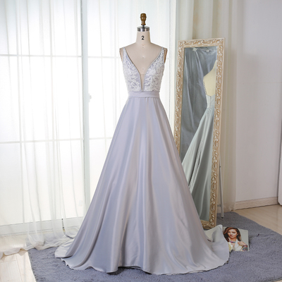 new arrival prom dress charming a line v neck satin long prom