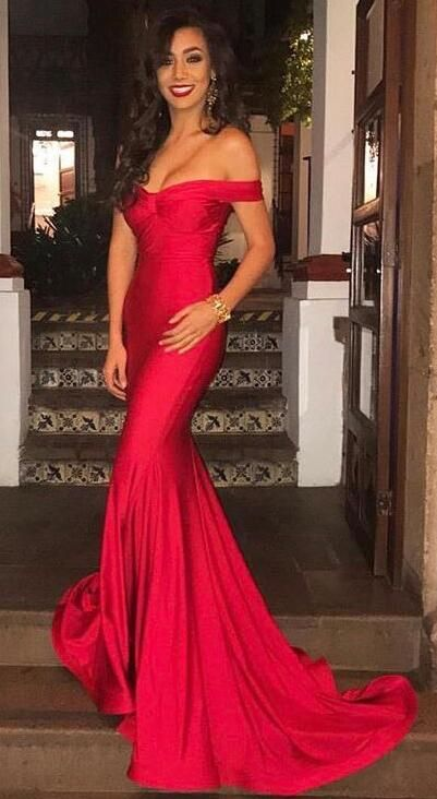 Gorgeous Off The Shoulder Prom Dress Red Mermaid Sexy