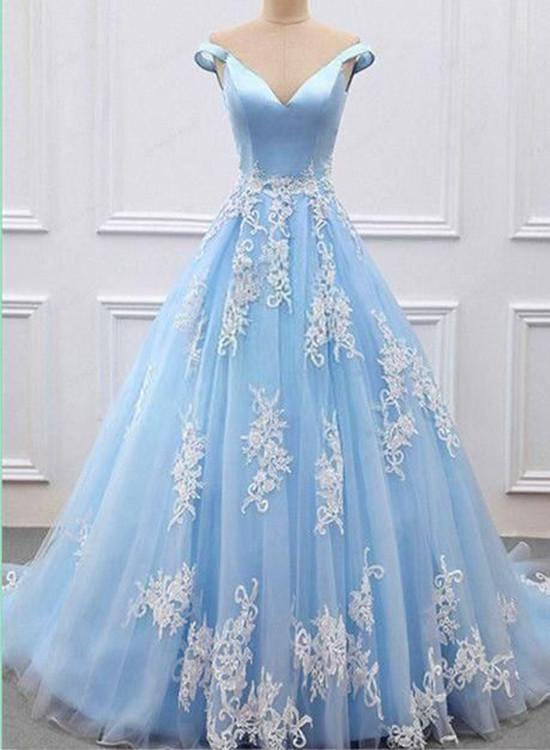 Off Shoulder Light Blue Tulle Prom Dress With Lace Applique Prom