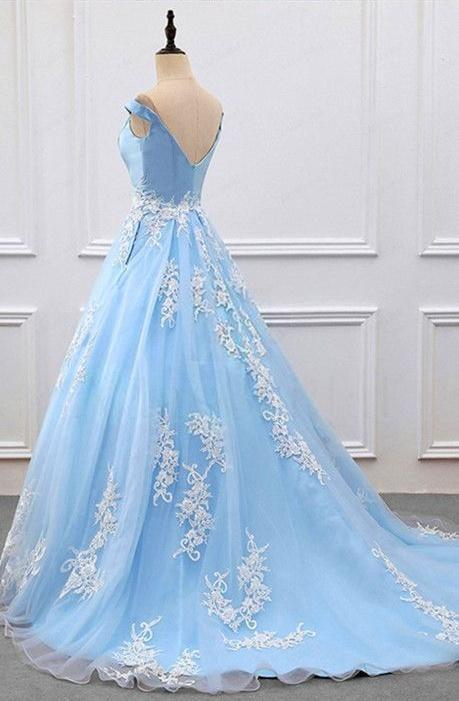 Off Shoulder Light Blue Tulle Prom Dress with Lace Applique, Prom ...