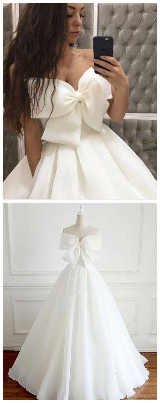 Cute White Big Bowknot Prom Dress,Strapless Evening Dress,Satin ...