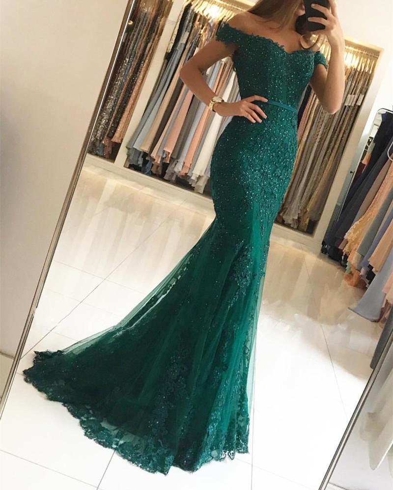 Green emerald lace prom dress