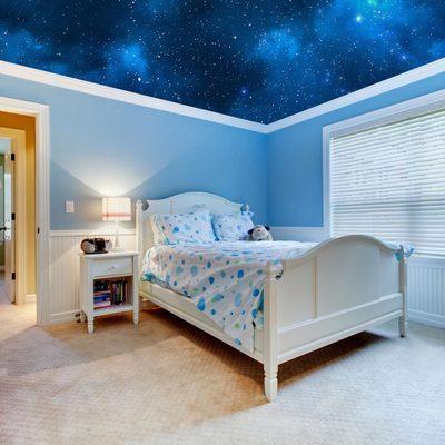 Ceiling Sticker Mural Space Blue Stars Galaxy Night Decole ...
