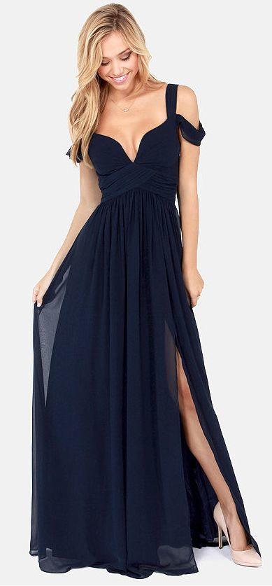 Prom Dress Ocean of Elegance Navy Blue Prom Dress Off Shoulder Prom ...