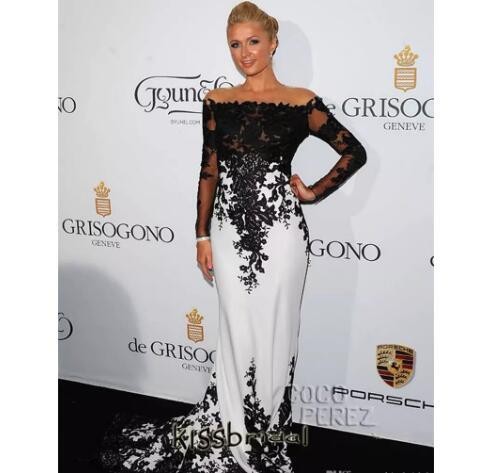 Mermaid Black and White Prom Dress, Satin Long Prom Dresses, Elegant ...