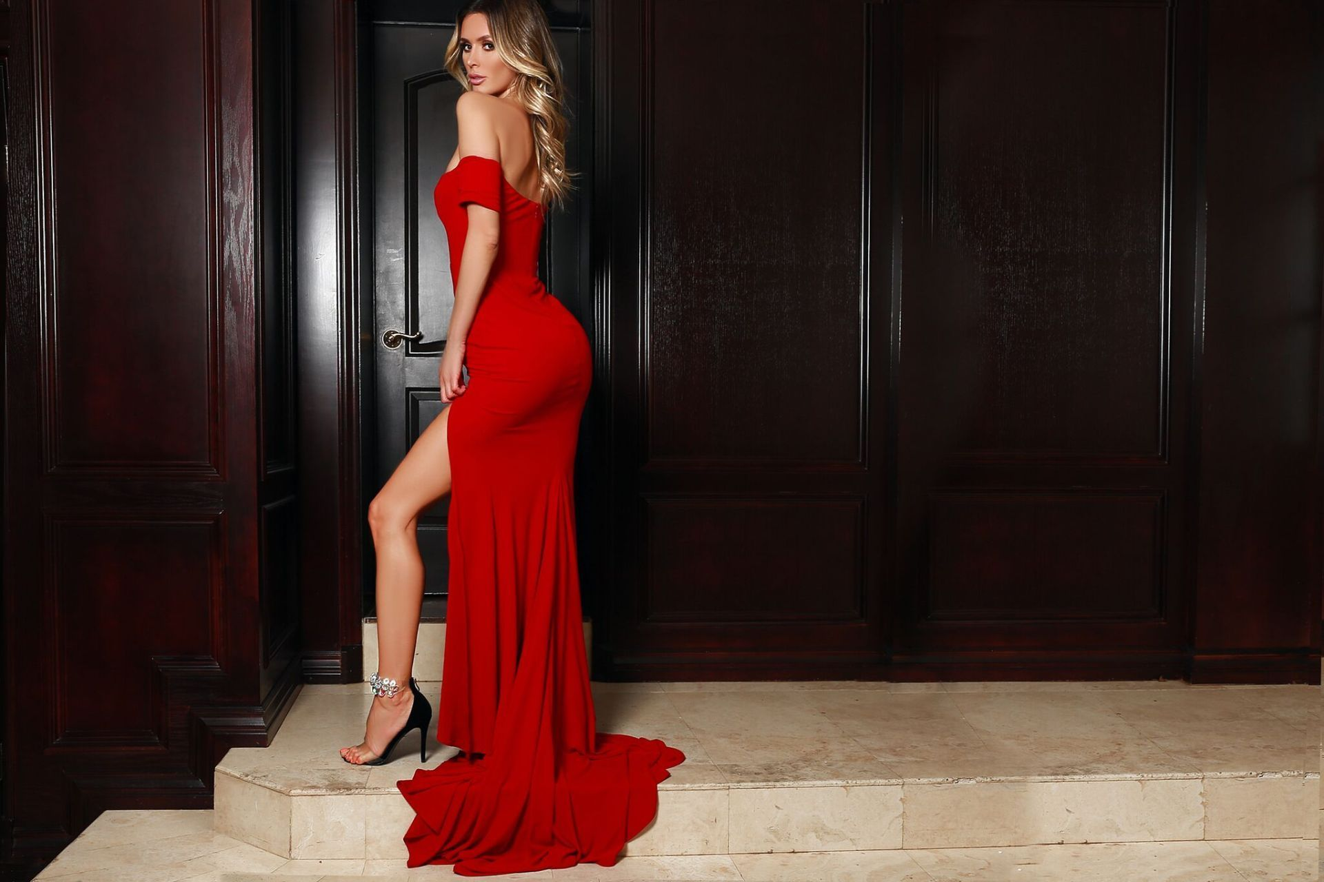 2018 Sheath Red Prom Dress, Off Shoulder Prom Dress, Party Dress ...