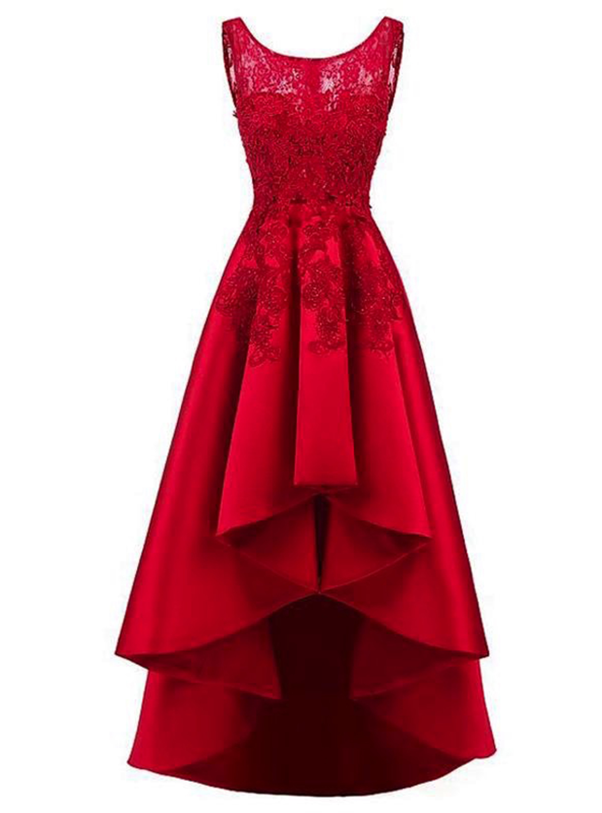 Red satin high low A-line lace homecoming dress, party dress ...