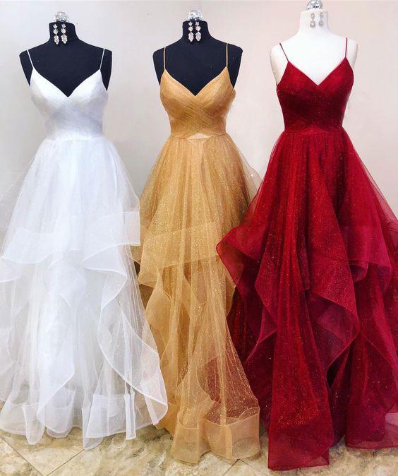 Elegant spaghetti Straps White/Dark Beige/Burgundy Organza Prom ...