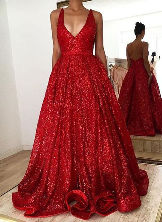 Red Floor Length Evening Dress