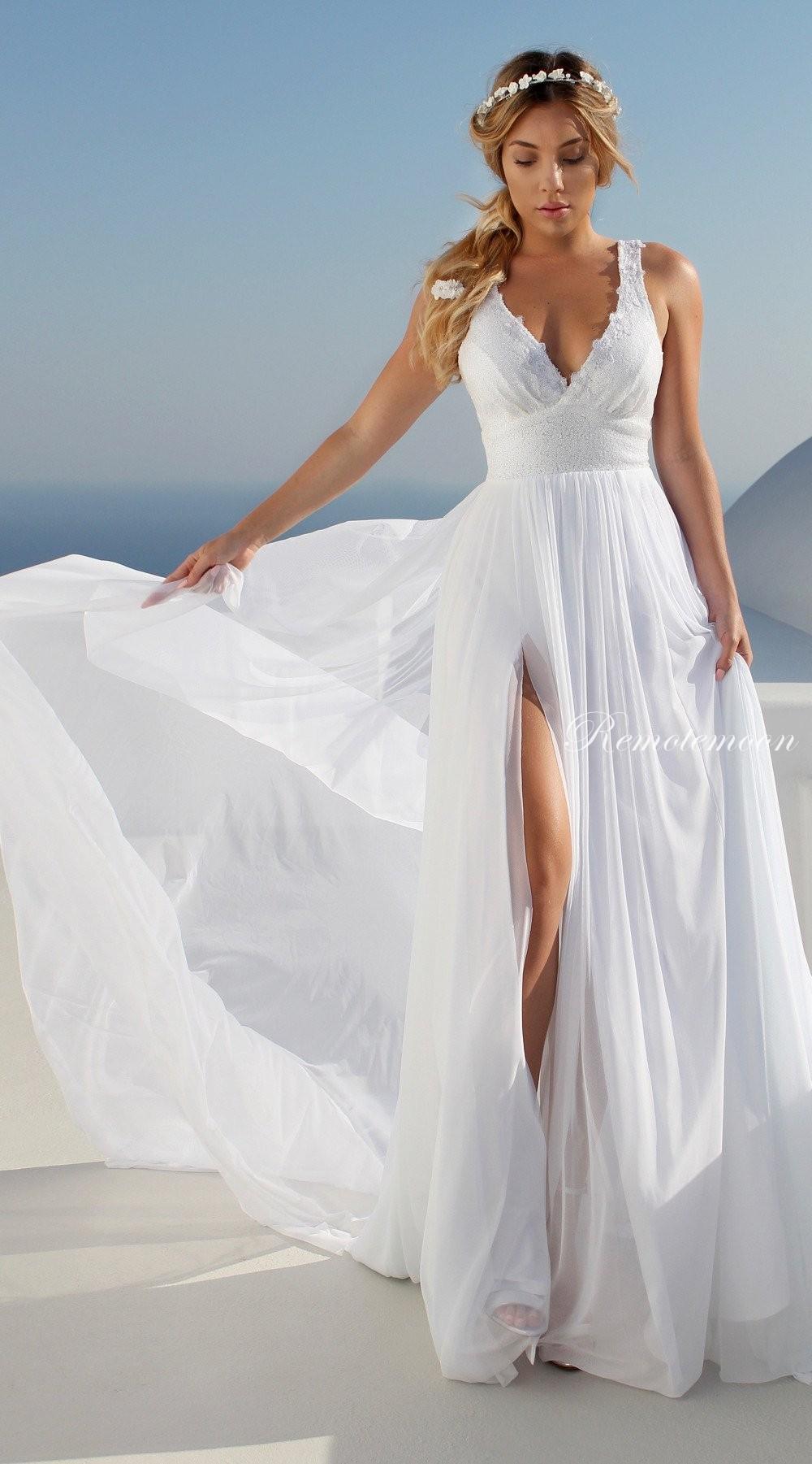 Deep V-Neck High Side Split Wedding Dress with Long Train White Lace ...