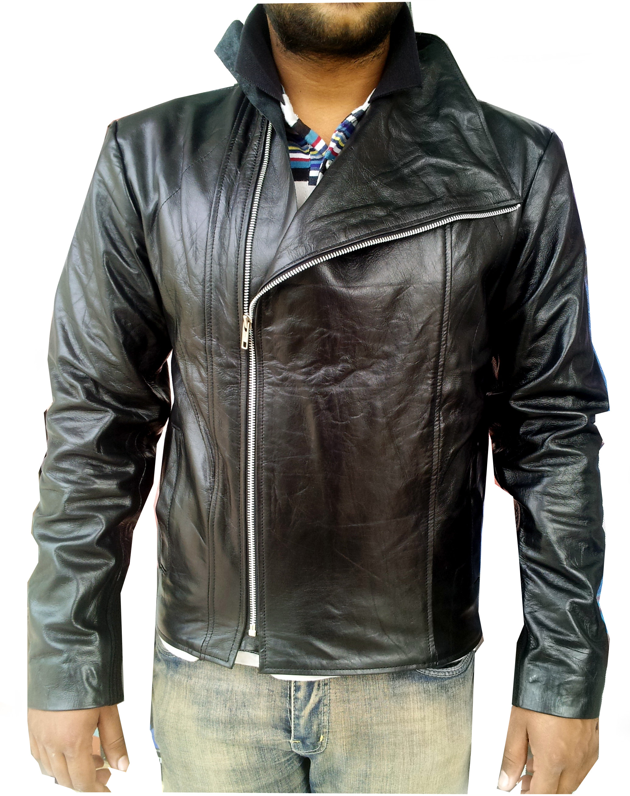 Men's jacket collar - Handmade New Men High Collar Soft Leather Jacket Men Leather Jacket Leather Jacket For