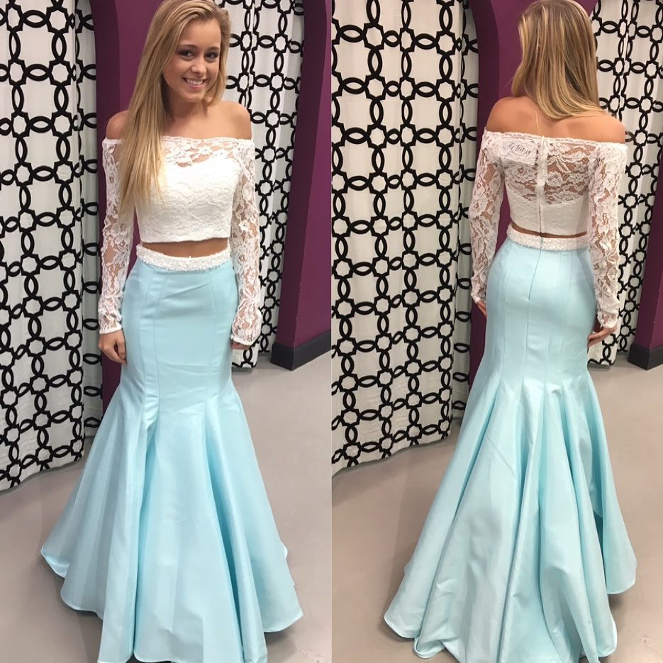 Off The Shoulder Prom Dress Two Piece Mermaid Long Sleeve Formal ...