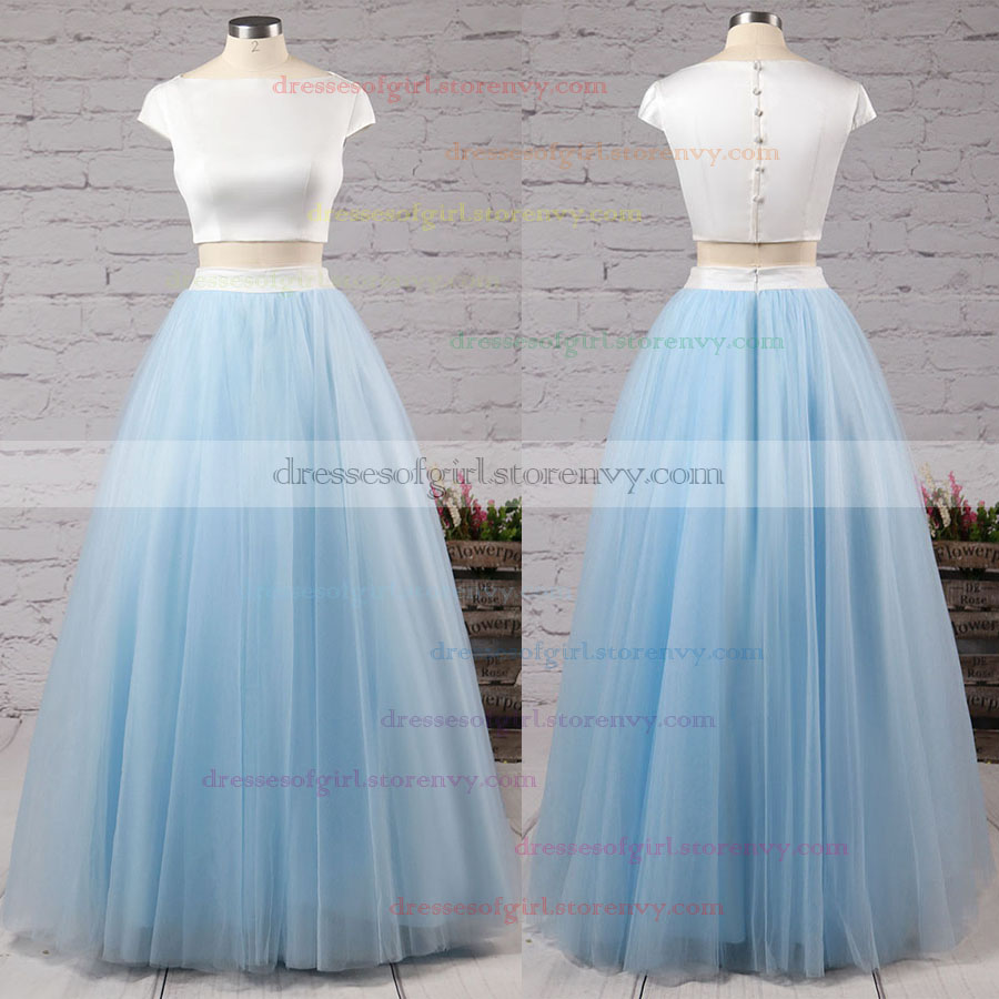 Two Piece Prom Dresses,Princess Scoop Neck Long Formal Dresses,Satin ...