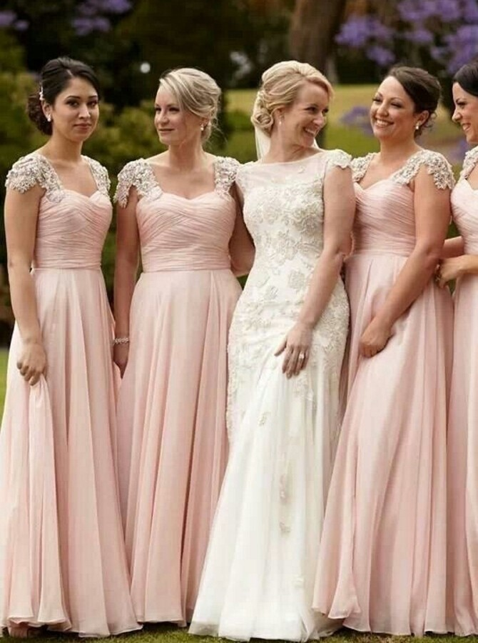 Cap Sleeves Chiffon Floor Length Blush Pink Bridesmaid Dreses Long ...