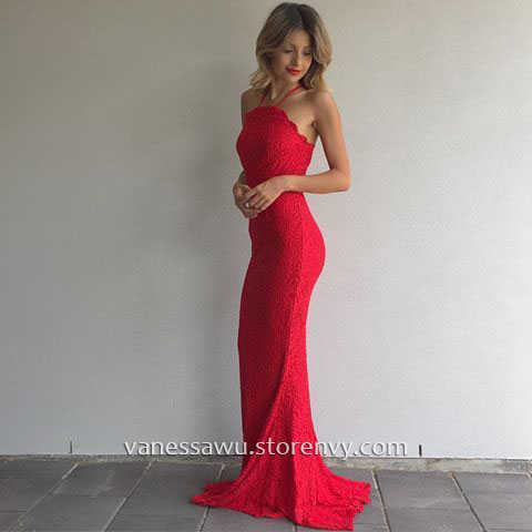 Red Prom Dresses,Sheath/Column Halter Long Formal Dresses,Beautiful ...