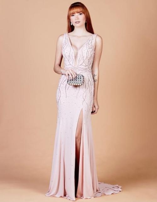 2018 Sexy Light Pink Prom Dressmermaid V Neck Prom Dressesprom