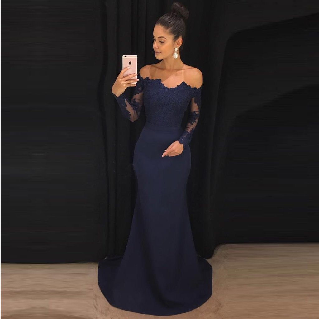 Navy Blue Mermaid Formal Evening Gown Off The Shoulder Wedding Party ...