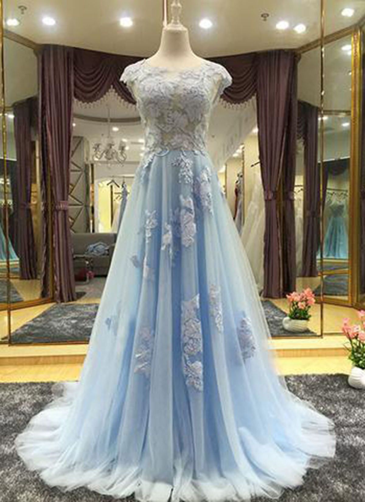 Cheap Prom Dresses by SweetheartDress · Elegant sky blue chiffon cap ...