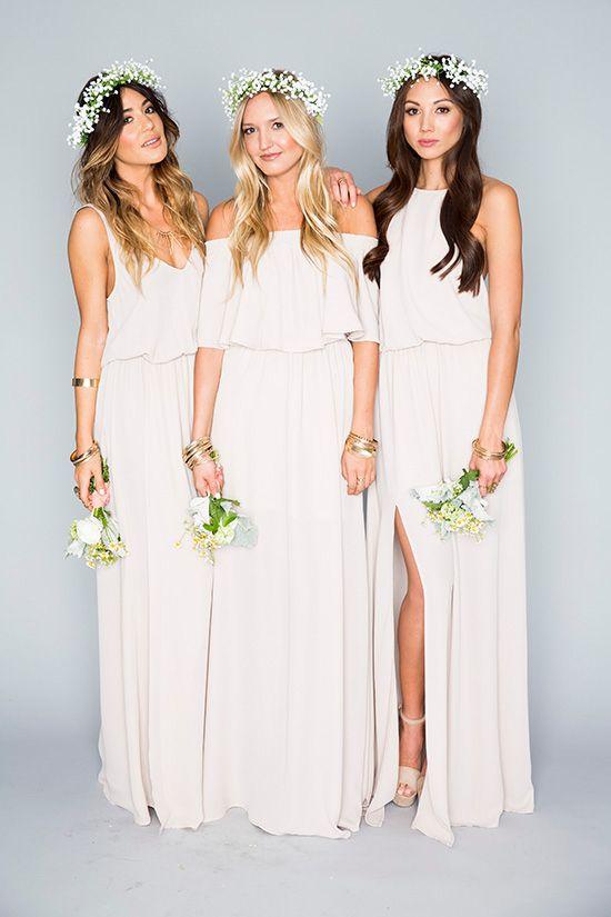 Long White Bridesmaid Dresses