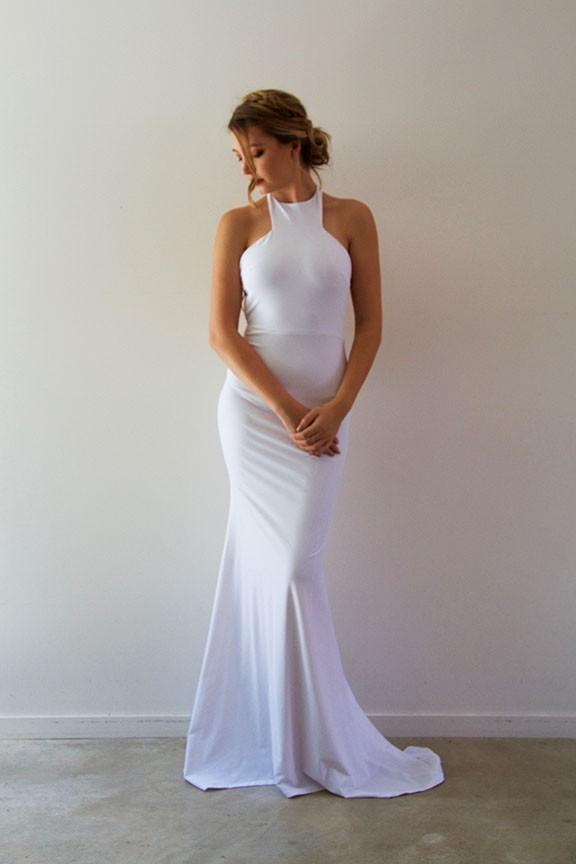 Elegant White Mermaid Prom Dresses, Long Evening Dresses, Halter ...