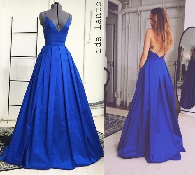 New Fashion Royal Blue Prom Dress, Ball Gown, Backless Prom Gown ...