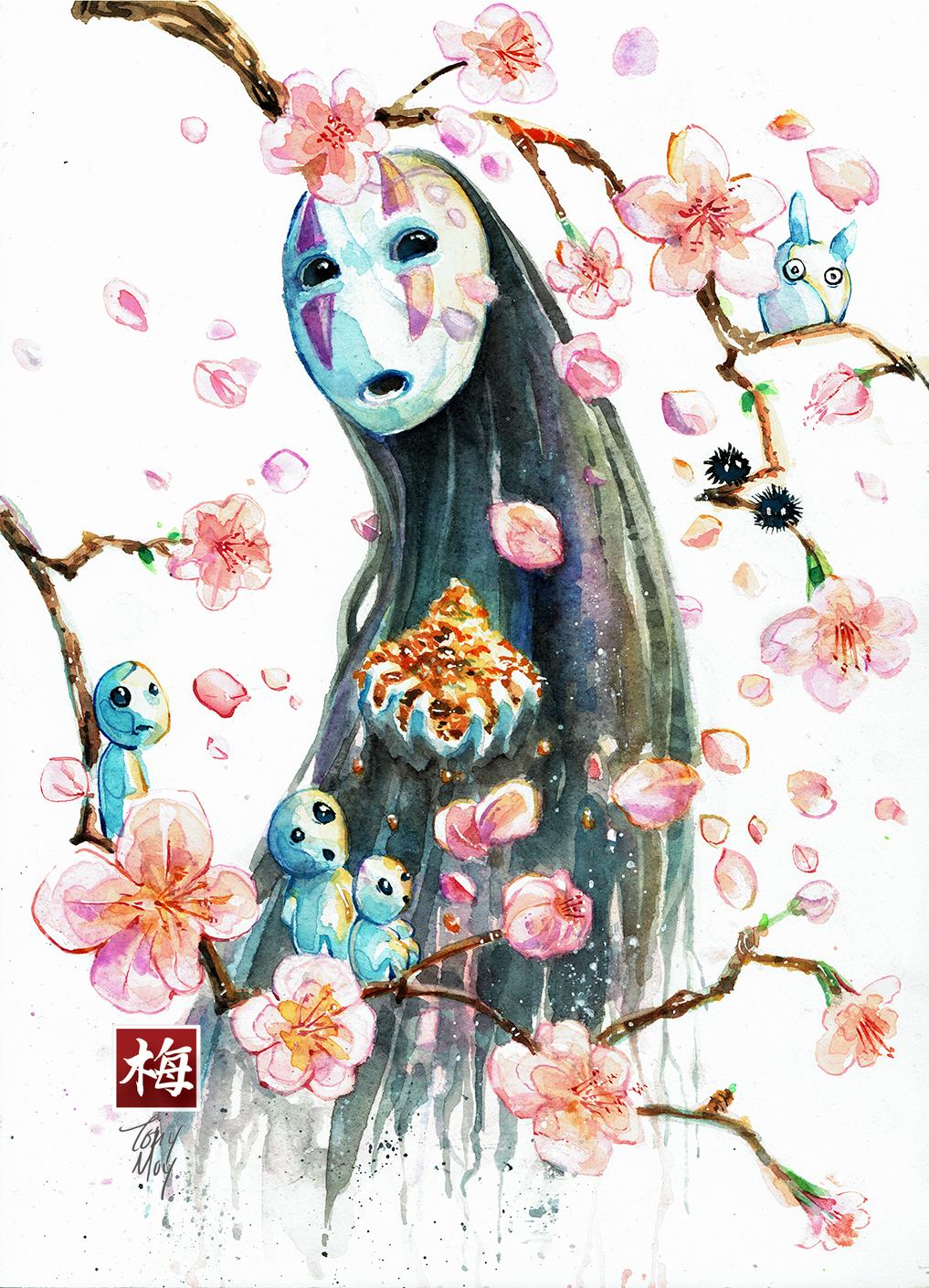 Sakura No Face Amp Friends Studio Ghibli Watercolor