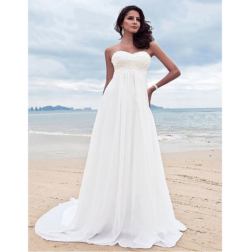 Bohemian Summer Beach Wedding Dress Sweetheart Lace Appliques Beaded ...