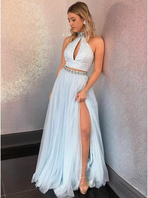 Elegant Light Blue Beaded Long Prom Dresses,Halter Sleeveless ...