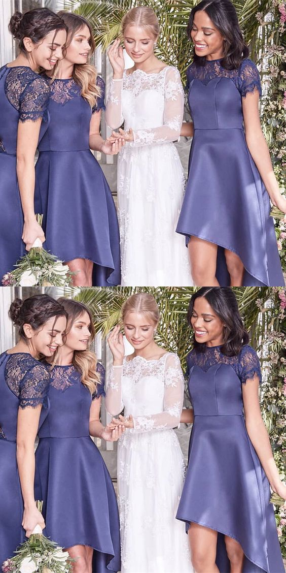 A-Line Jewel Navy Blue High Low Bridesmaid