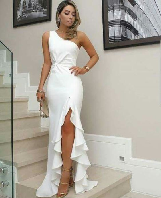 White Long Prom Dress One Shoulder Satin High Slit Ruffles Summer ...