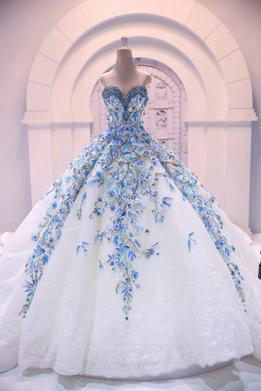 0de139dd0df Stunning White Lace Quinceanera Dresses with Blue Appliques Beaded ...