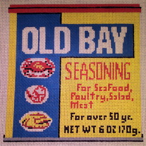 Old Bay Pillow Canvas on 13 Mesh