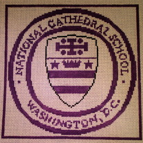 NCS, National Cathedral School Pillow Canvas on 13 Mesh