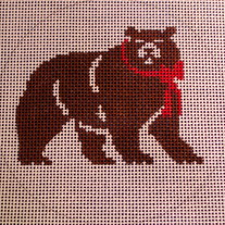 Landon School Bear Ornament Canvas on 18 mesh