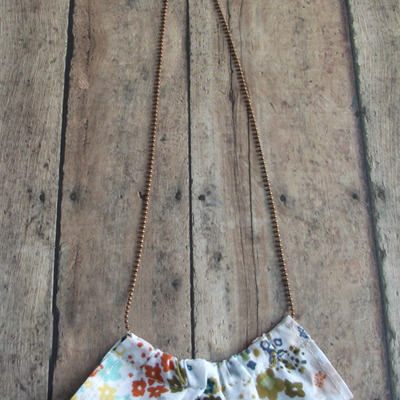 Floral fabric ruffle necklace