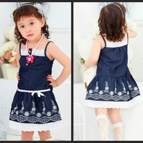 FREE SHIPPING AND ON CLEARANCE SALE Blue and White with Lace Accented Girls Summer Dress