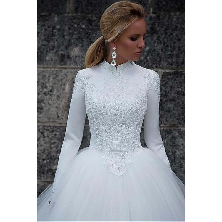 Vintage Satin High Collar Natural Waistline Ball Gown Wedding Dress ...