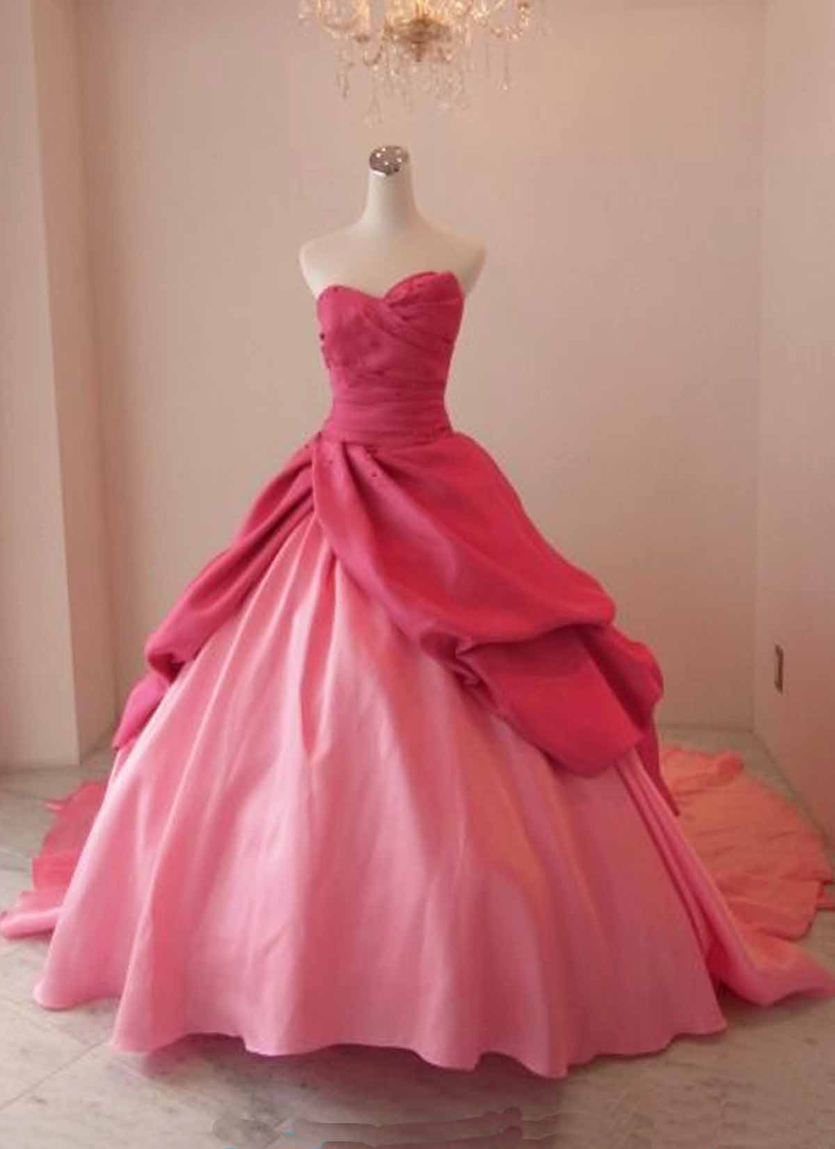 Pink taffeta strapless long ball gown, pink vintage prom dress ...