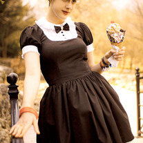 Gloomth Tuxedo Dress with Skull Bow