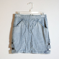 Snow Wash Side Cut Denim Skirt by Motel