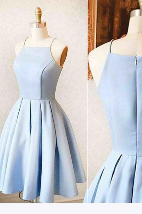 Simple Satin Homecoming Dress, Short